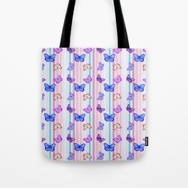 Butterflies and Stripes Pattern Tote Bag