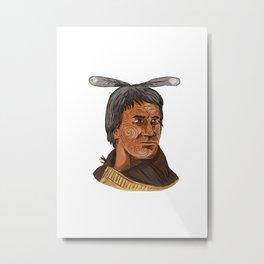 Maori Chief Warrior Bust Watercolor Metal Print