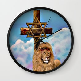 Lion of Judah at the Cross Wall Clock