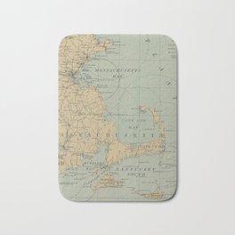 Vintage Massachusetts Lighthouse Map (1898) Bath Mat