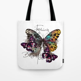 Fashion art print with colorful tropical butterly Tote Bag