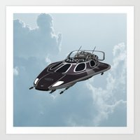 spaceship Art Prints featuring Spaceship by Design Windmill