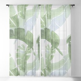 Tropical Leaves Green And Blue Sheer Curtain