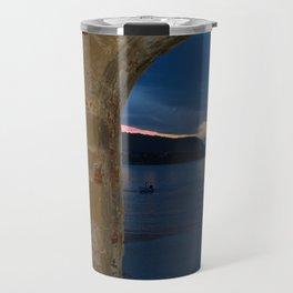 Door Framed Sunset View in Cefalu Italy Travel Mug