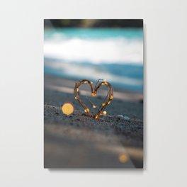 Fairy Light Heart Photography Metal Print