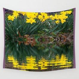 PUCE & YELLOW DAFFODILS WATER REFLECTION PATTERN Wall Tapestry