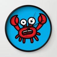 luigi Wall Clocks featuring Crab Luigi by Leon-Design