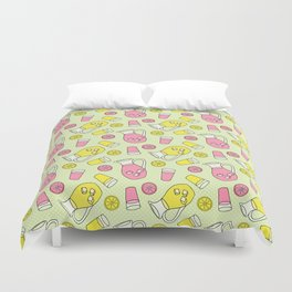 Summer Doodle - Pink and Yellow Lemonade Pattern Duvet Cover