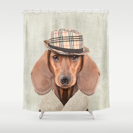 The stylish Mr Dachshund Shower Curtain