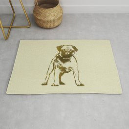 Pug Puppy sketch on canvas with gold accents Rug