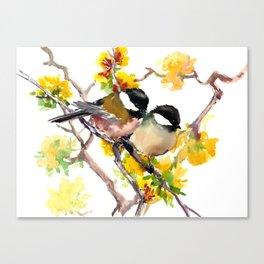 Birds in the Spring, Chickadee birds, birds adn flowers Canvas Print