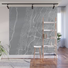 Yonkers Map, New York USA - Pewter Wall Mural