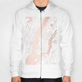 New York City White on Rosegold Street Map Hoody