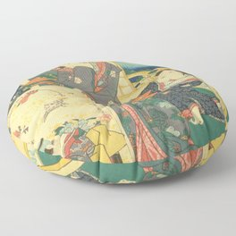 Spring Outing In A Villa Diptych #2 by Toyohara Kunichika Floor Pillow