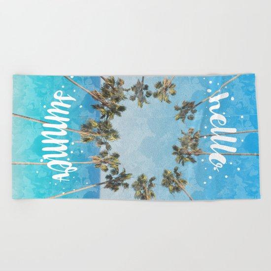 hello summer palm trees design 2 Beach Towel