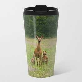Doe with Twin Fawns Travel Mug