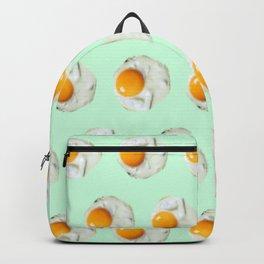 mint green funny food pattern breakfast eggs Backpack