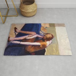 Girl with the Blue Bed Tying Her Shoe portrait painting by Guy Pène du Bois Rug