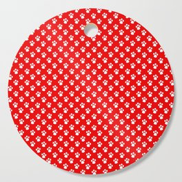 Tiny Paw Prints Pattern - Bright Red & White Cutting Board
