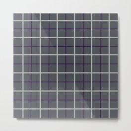 Charcoal Windowpane Check with Cloud Grey & Aubergine Metal Print