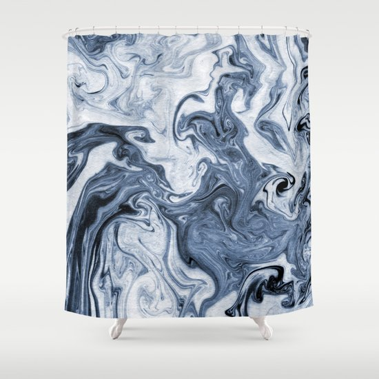 curtain isao spilled ink art print marble blue indigo india ink original waves ocean watercolor painting shower