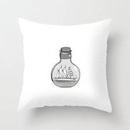 Graphic . Geometric Shape Black Ship in a Bottle 5 Throw Pillow