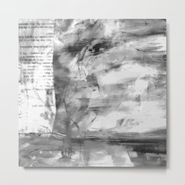 Triskelion Book Abstract Black and White by Ericka O'Rourke Metal Print