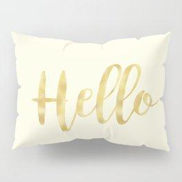 Hello in Golden Yellow on Cream Pillow Sham