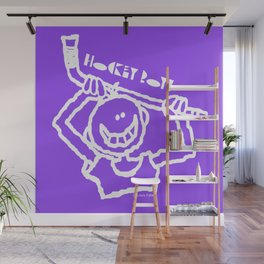 Hockey Boy Purple Wall Mural