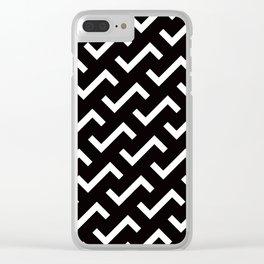 Geometric Pattern #36 (black white S shape pattern) Clear iPhone Case