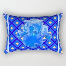 Blue Pattern Baby Blue Iris Art Yellow Checks Rectangular Pillow