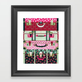 Pink patterned suitcases Framed Art Print