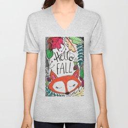 Hello Fall Fox Unisex V-Neck