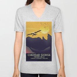 Cheddar Gorge vintage travel poster. Unisex V-Neck