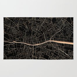 Gold and black Dublin map Rug