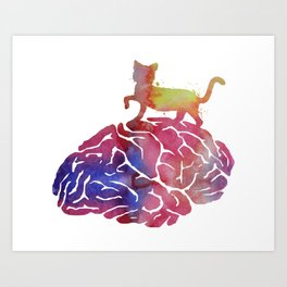 Cat and brain Art Print
