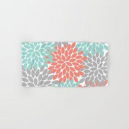 Coral Aqua Gray Floral Flower Burst Petals Design Pattern Hand & Bath Towel