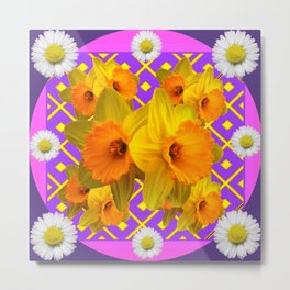 Shasta Daisy Fuchsia Gold Daffodils Design Metal Print