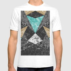 Marble Geometric Background G430 White Mens Fitted Tee MEDIUM