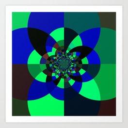 Green Blue Kaleidoscope Art Print