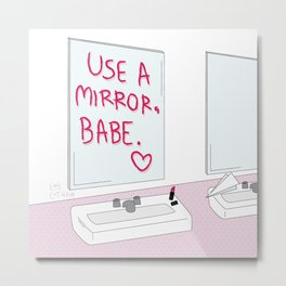 Mirror Babe Metal Print