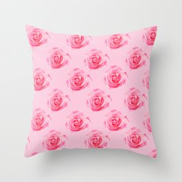 Pink Rose Swirly Petals Throw Pillow