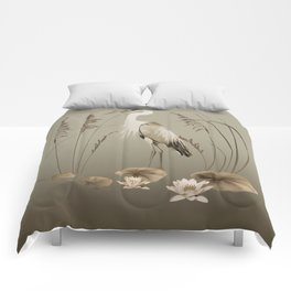 Heron and Lotus Flowers Comforters