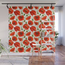 Beautiful Red Poppy Flowers Wall Mural