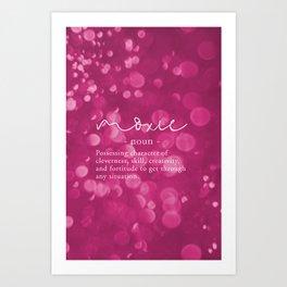 Moxie Definition   Pink Bokeh Art Print