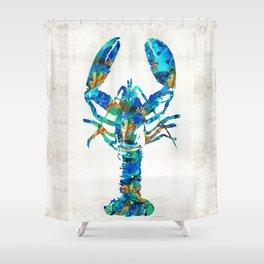 Blue Lobster Art by Sharon Cummings Shower Curtain