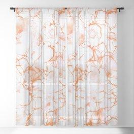 Orange Marbled Watercolor #decor #society6 Sheer Curtain