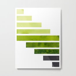 Sap Green Midcentury Modern Minimalist Staggered Stripes Rectangle Geometric Pattern Watercolor Art Metal Print