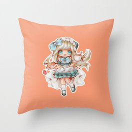 Kawaii Waitress Throw Pillow