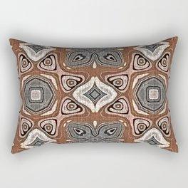 Gray Brown Taupe Beige Tan Black Hip Orient Bali Art Rectangular Pillow